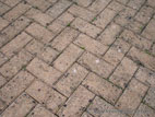 Brick paved driveway close up detail