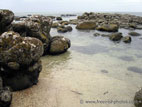 Rocky shoreline at sandy beach