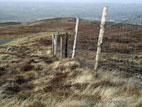 Posts and wire fence on high moorland