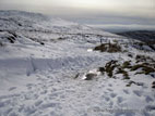 Road to Slieve Croob summit in snow